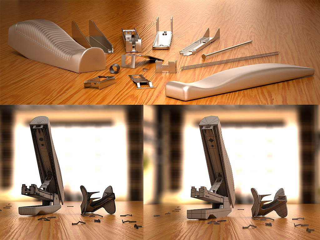 Stapler and staple remover in 3d max vray image