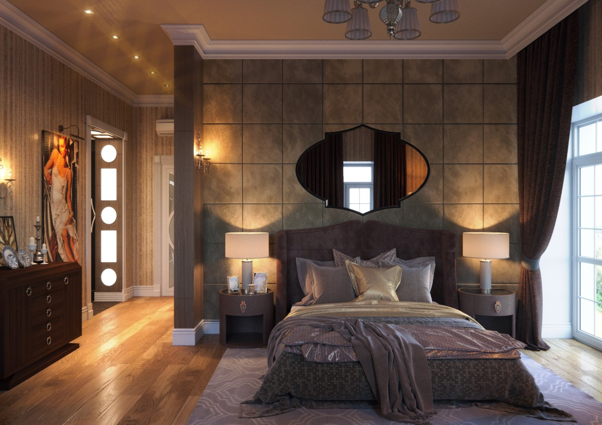 3d visualization of the project in the Bedroom 3d max, render corona render of Conceptvision