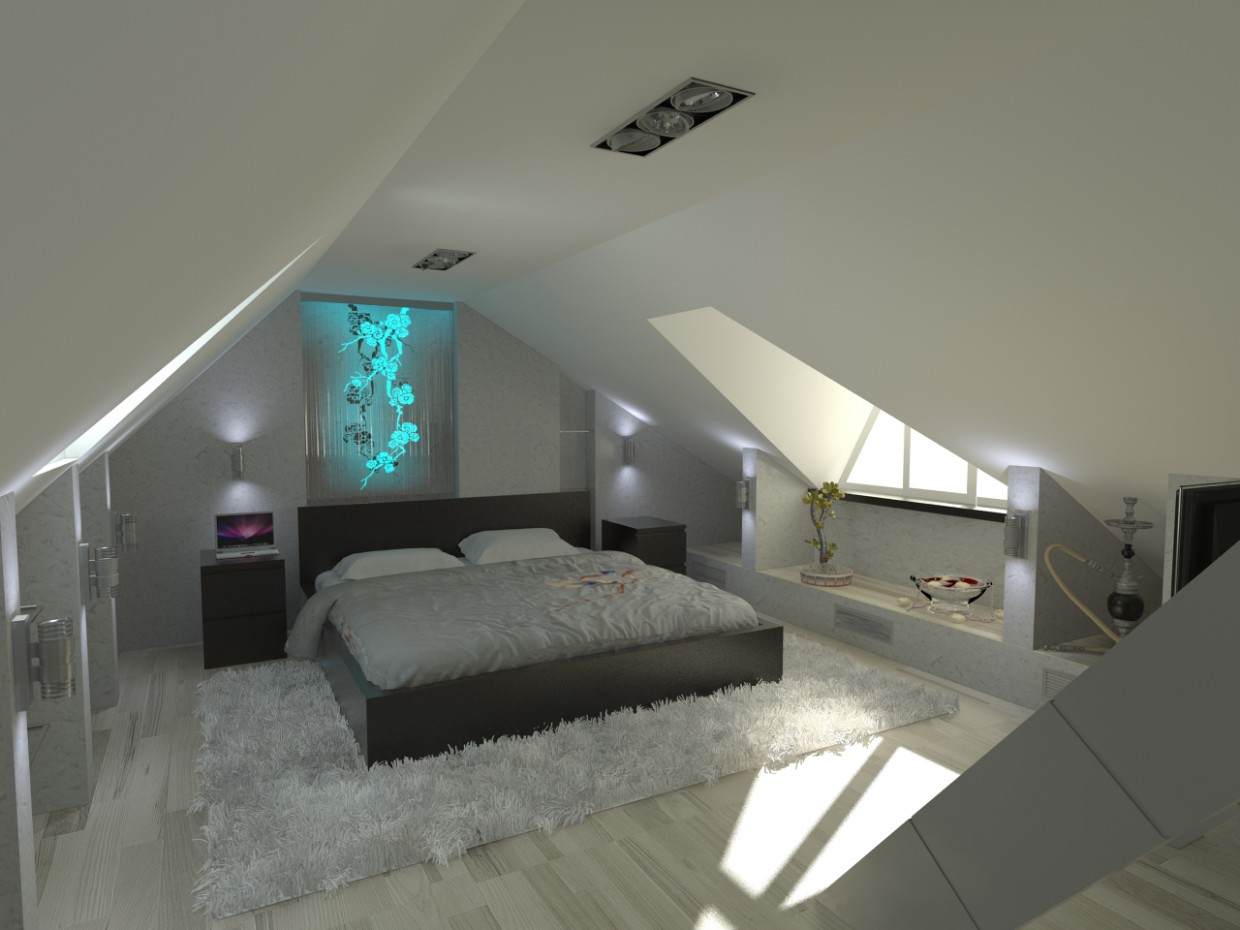 Bedroom in the attic in 3d max vray image