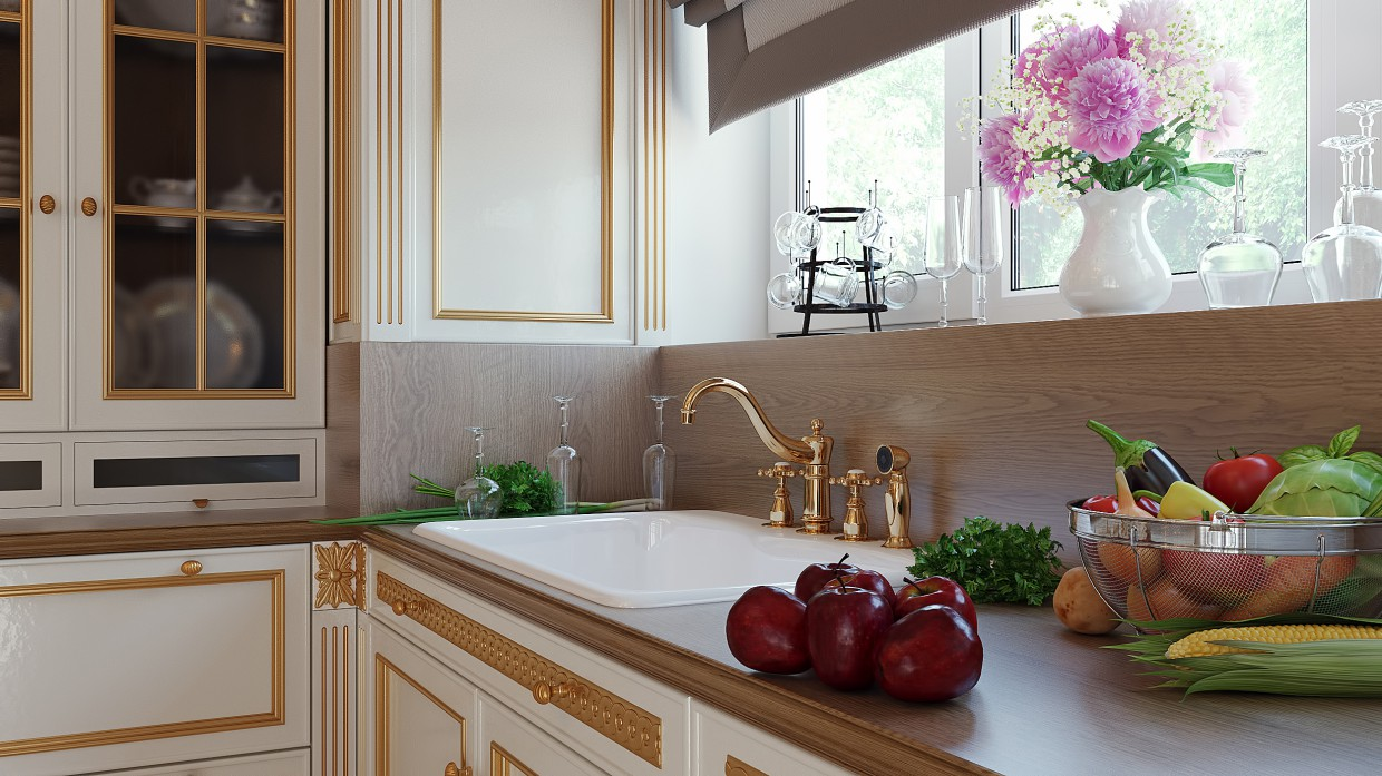 Classic kitchen in 3d max corona render image