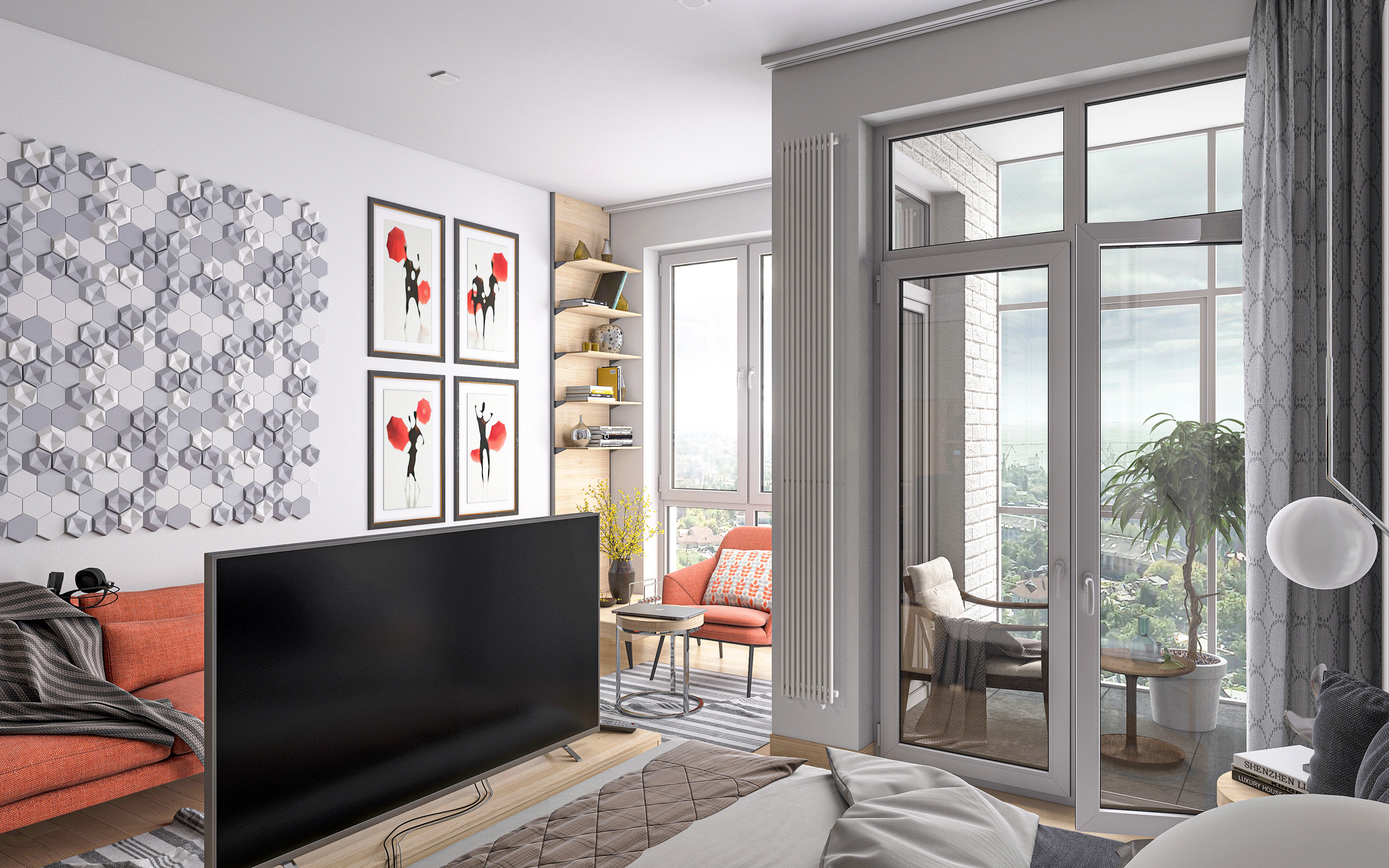 Smart apartment S36. in 3d max corona render image