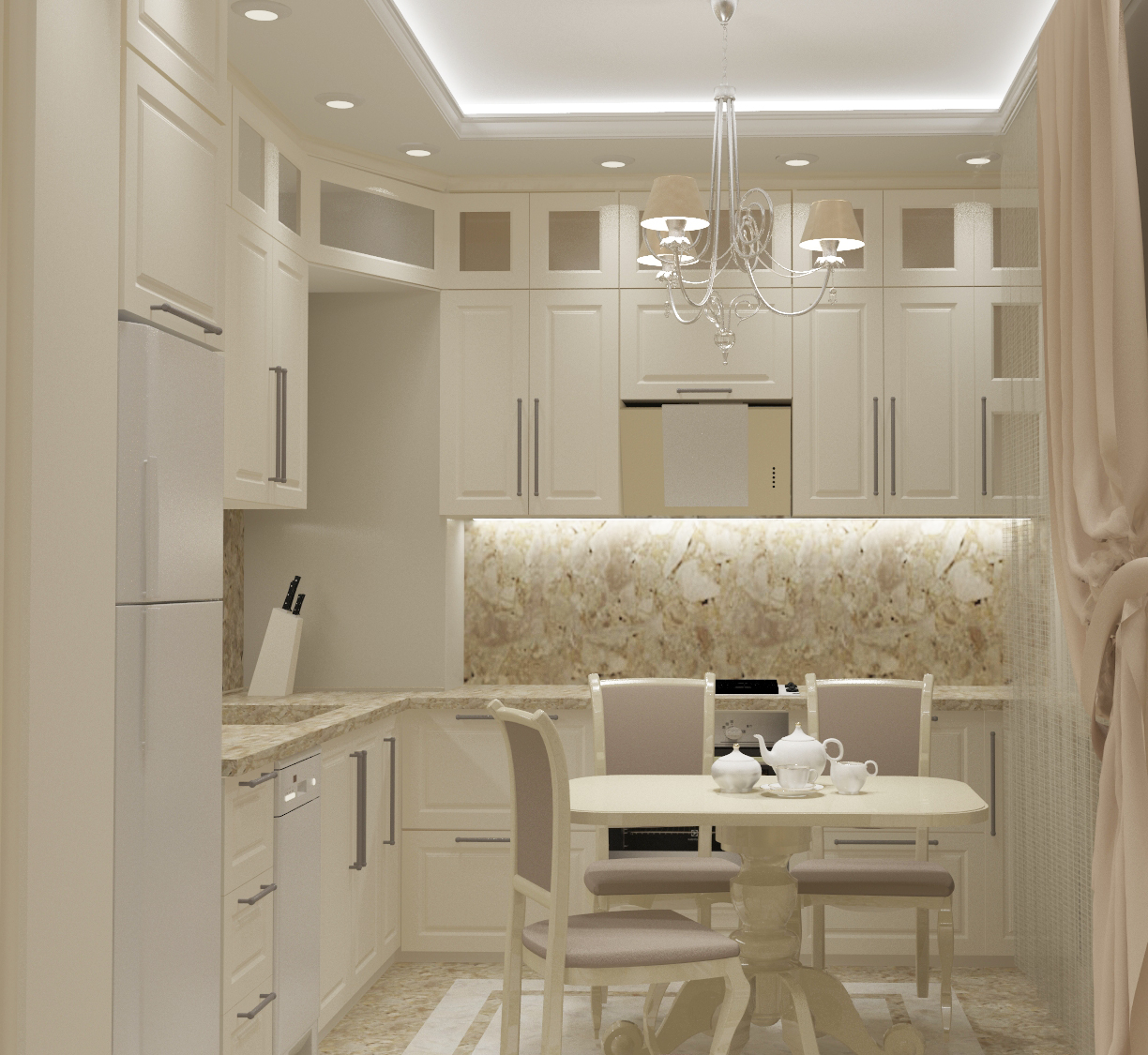 The kitchen in classical style in 3d max vray 3.0 image