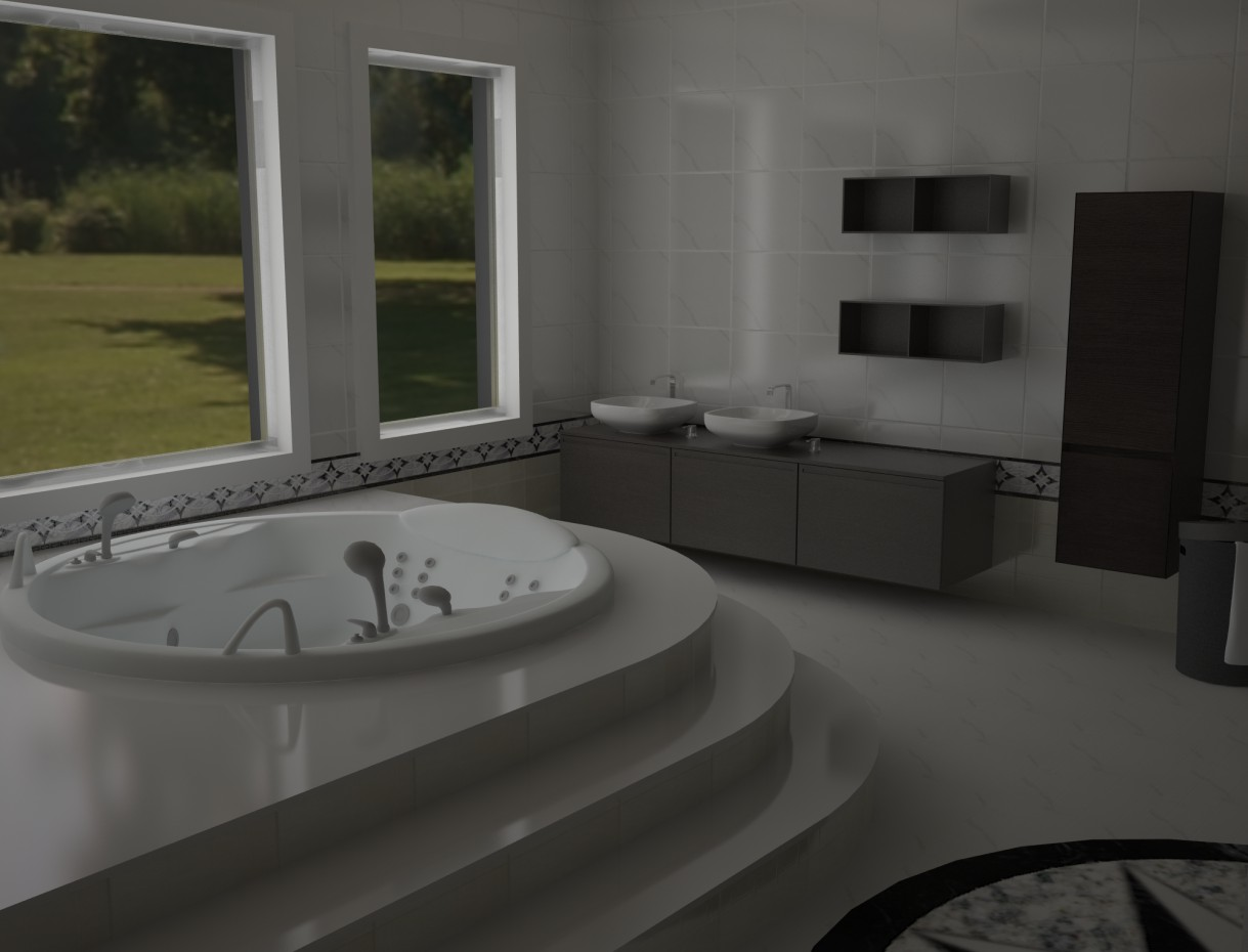 3d visualization bathroom with jacuzzi in style minimalism - Jacuzzi para interior ...