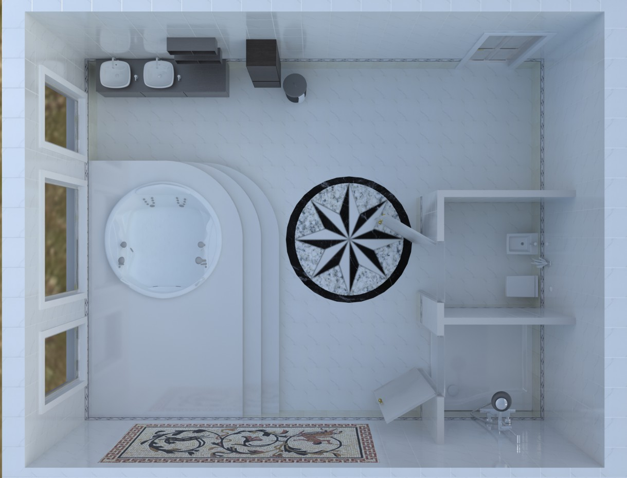 bathroom with jacuzzi style minimalism design and