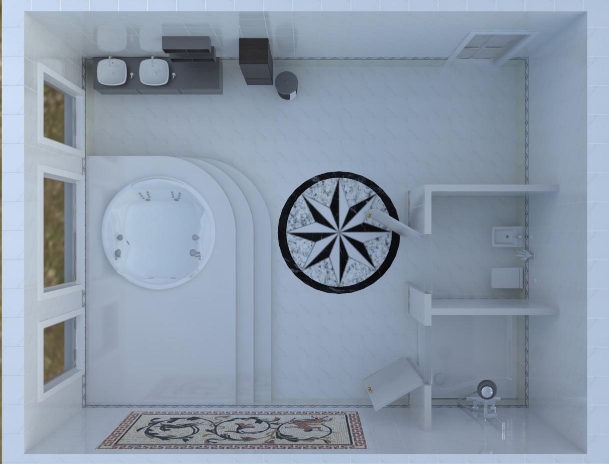Ванная комната с Джакузи в 3d max vray изображение