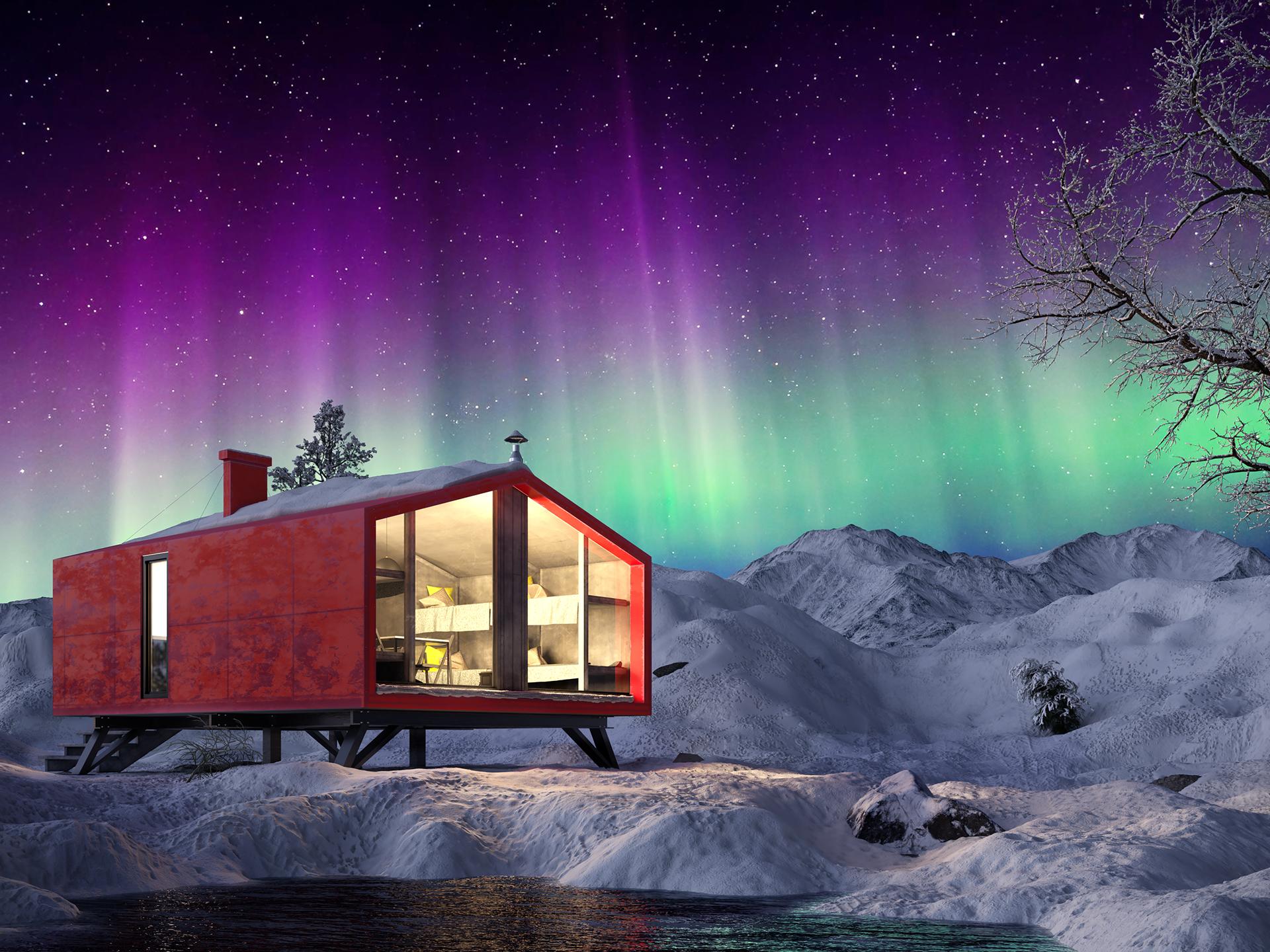 Tourist shelter DublDom in 3d max corona render image
