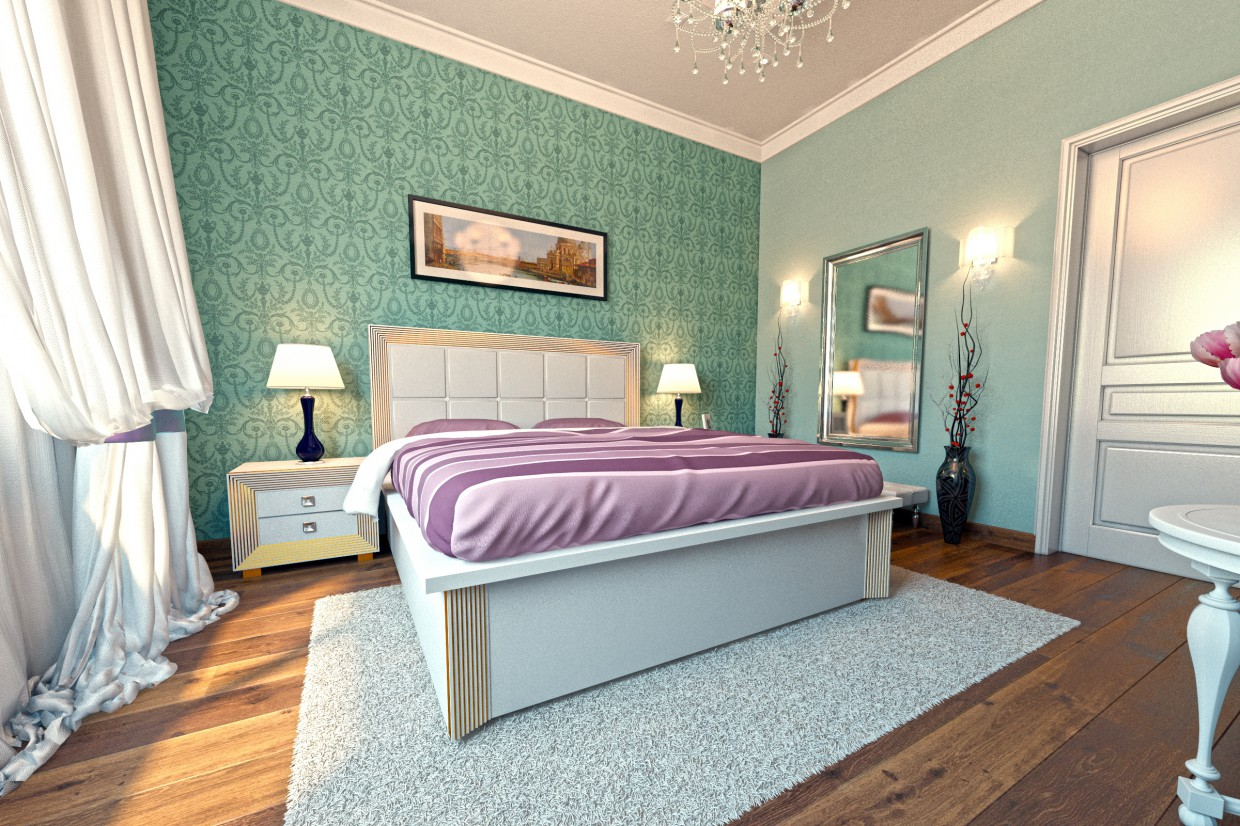Bedroom-French style in 3d max vray image