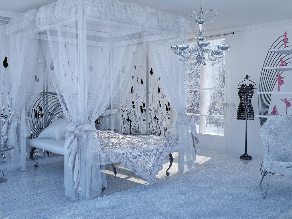 Snow-white interior in Cinema 4d vray image