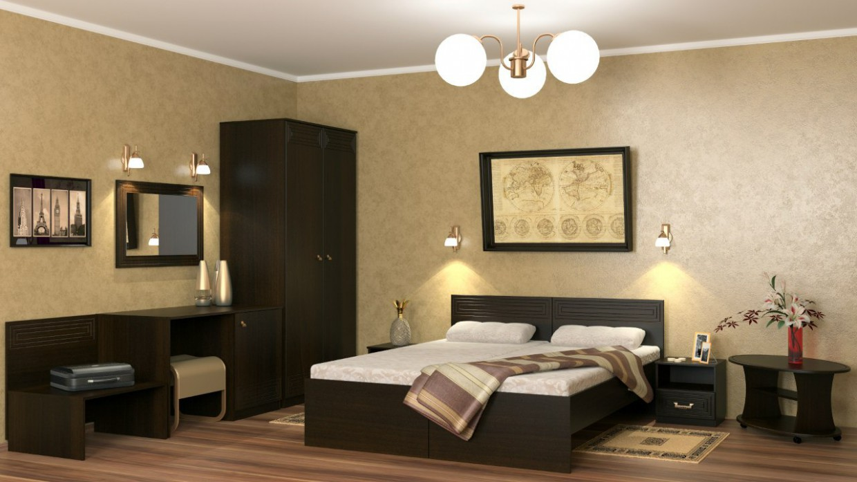 Room in a hotel in 3d max vray image