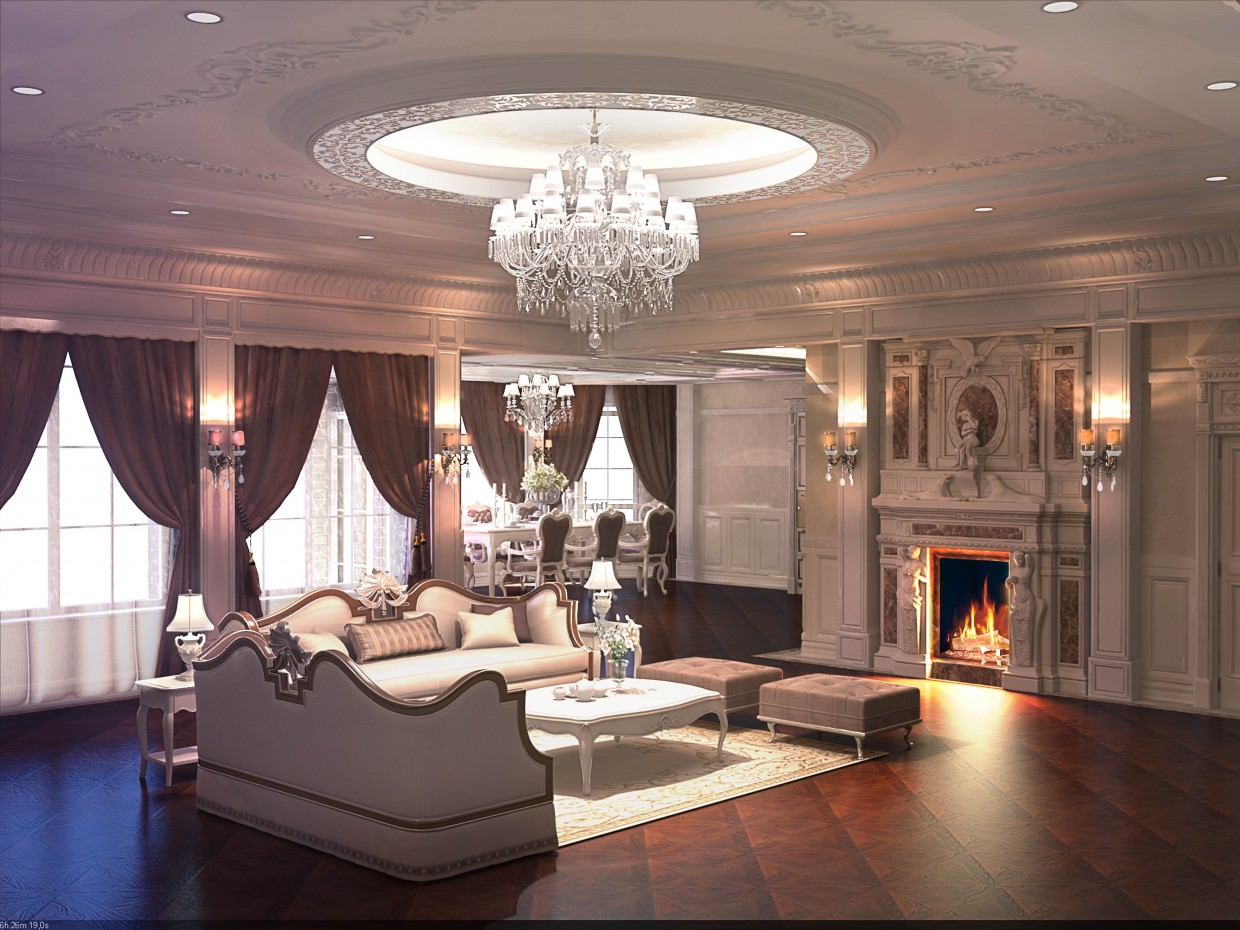 Fireplace hall in 3d max vray image