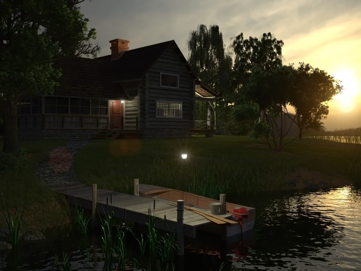 House near the water in 3d max vray image