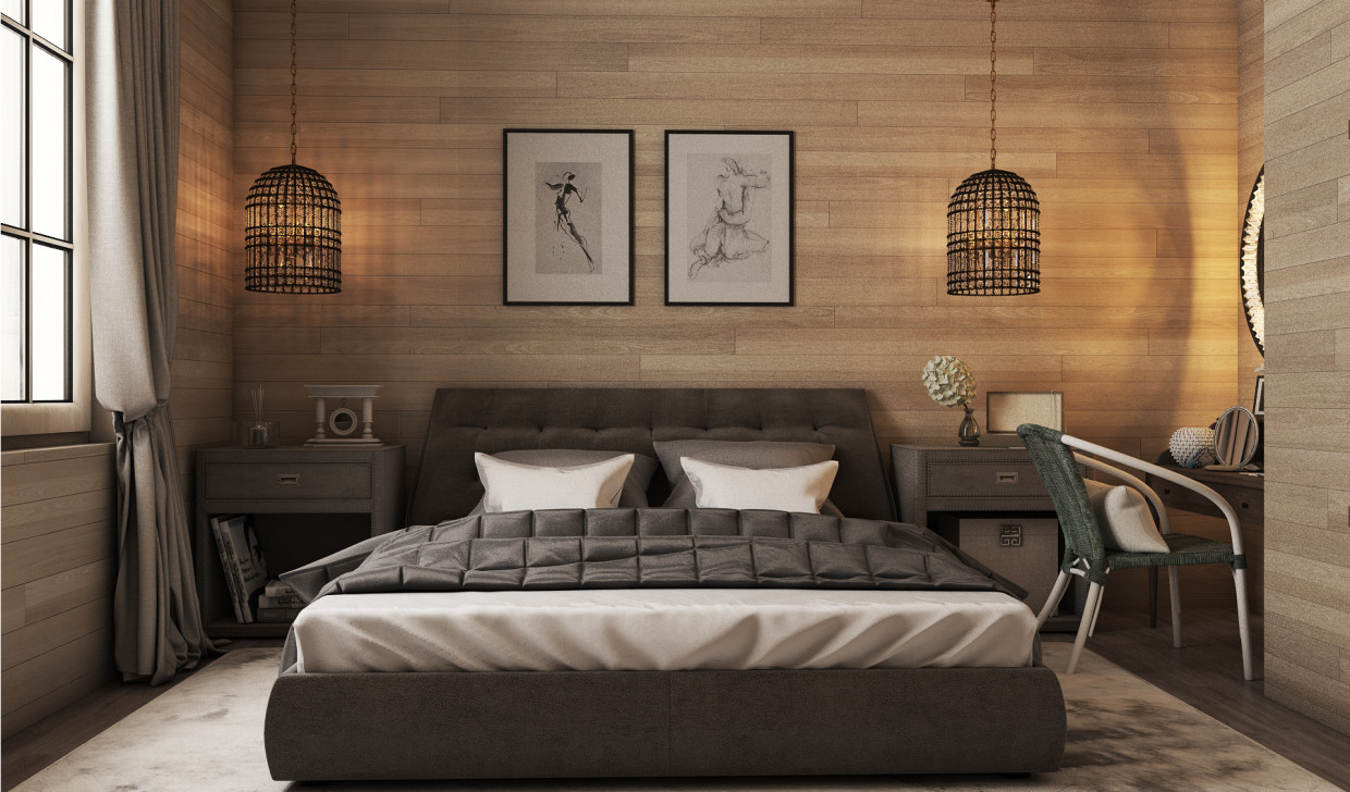 Bedroom chalet in 3d max vray 3.0 image