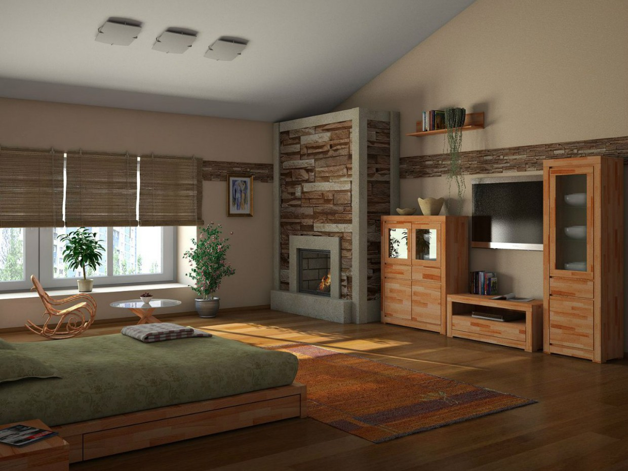 3d visualization of the project in the Bedroom 3d max, render vray of dvizhok