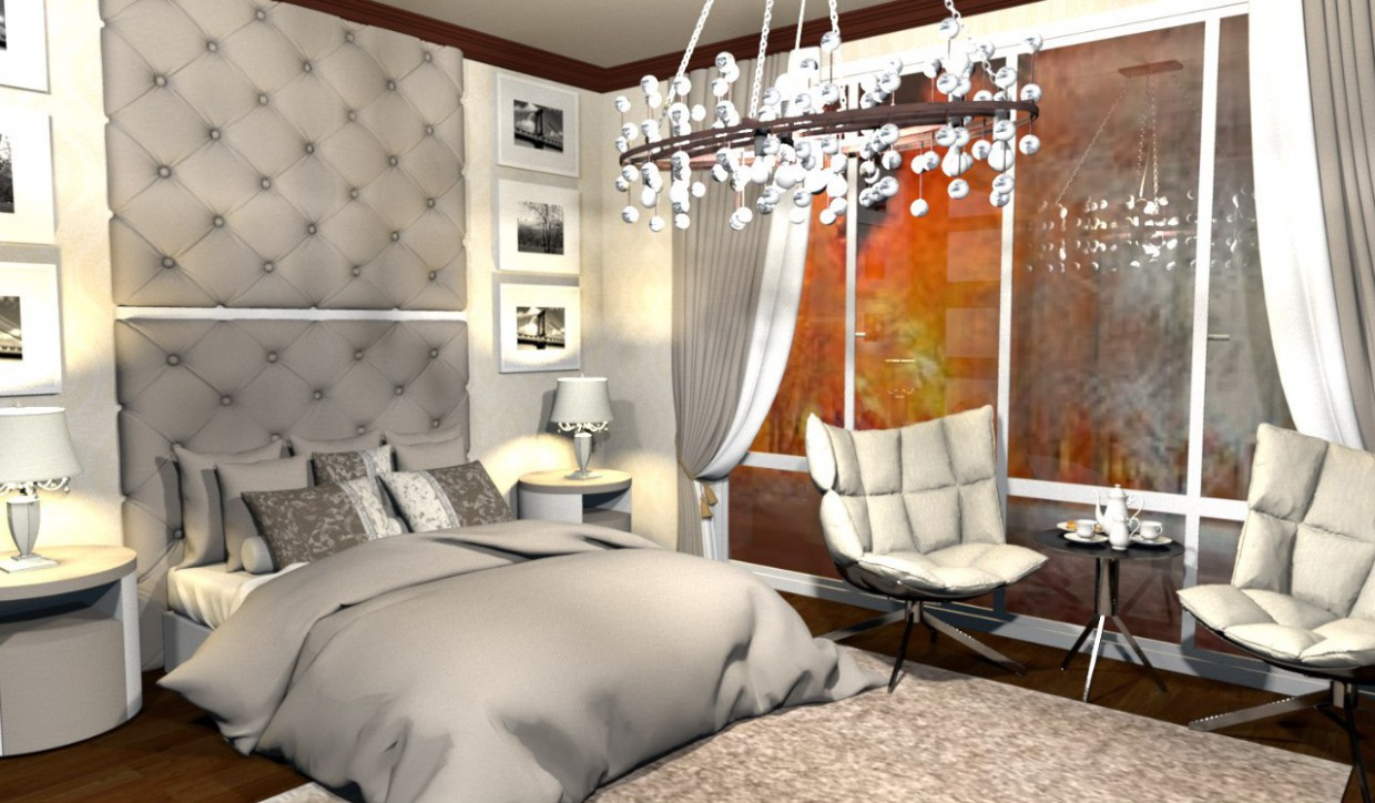 3d visualization of the project in the Bedroom Other thing, render vray of LessWeek