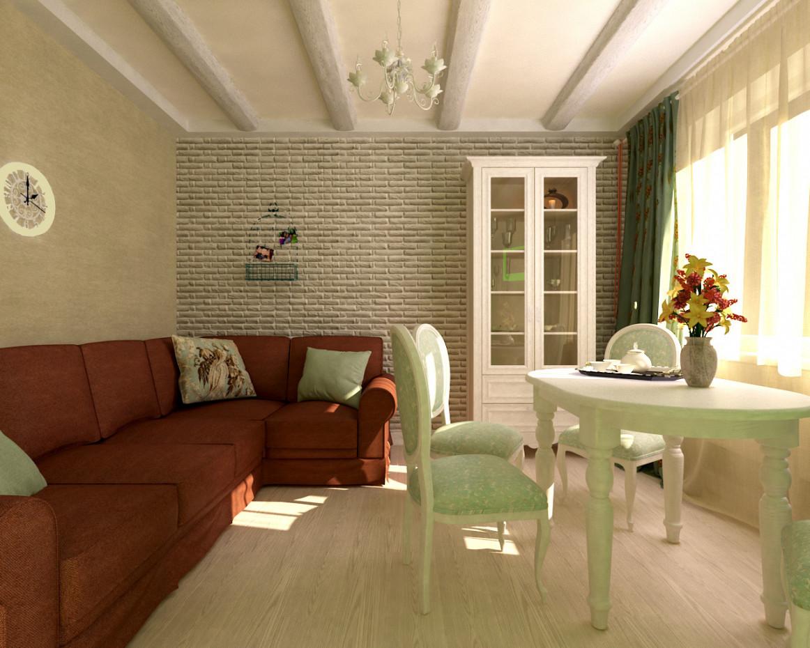 Una Piccola Sala Da Pranzo E Cucina Nel Cottage Visualizzazione E