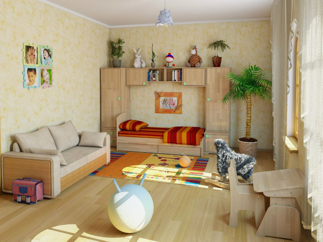 3d visualization of the project in the Childs room 3d max, render vray of dvizhok