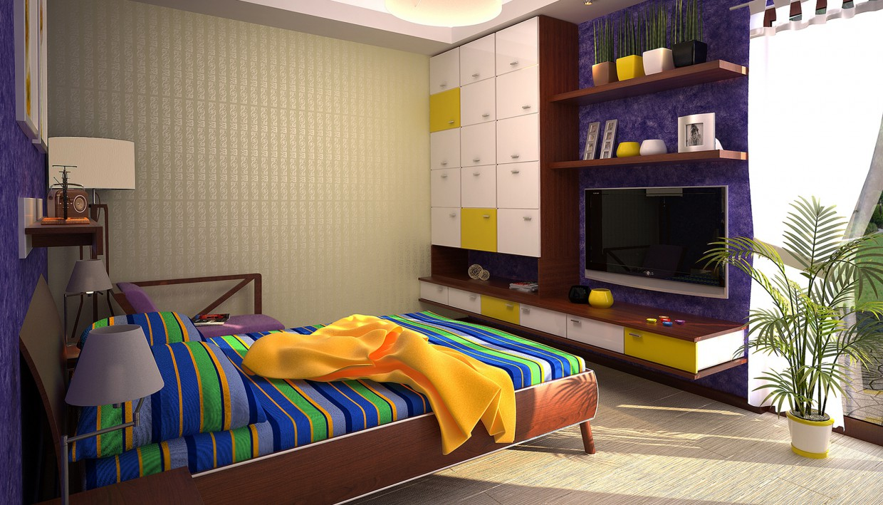 Bright bedroom in 3d max vray image