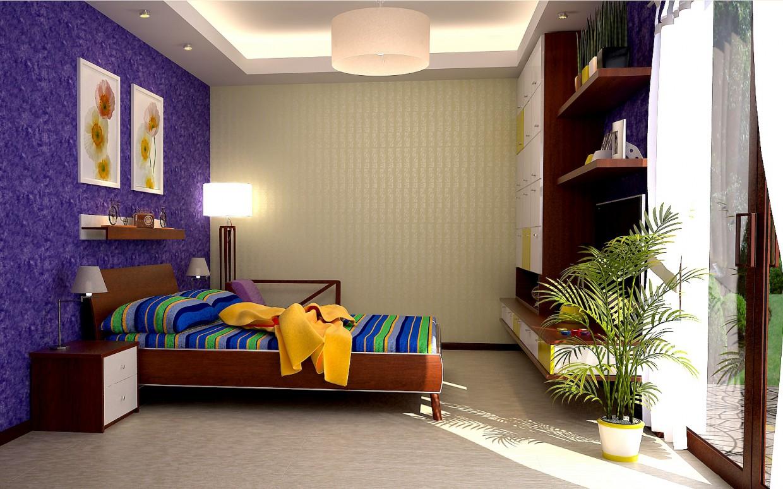 Яскрава спальня в 3d max vray зображення