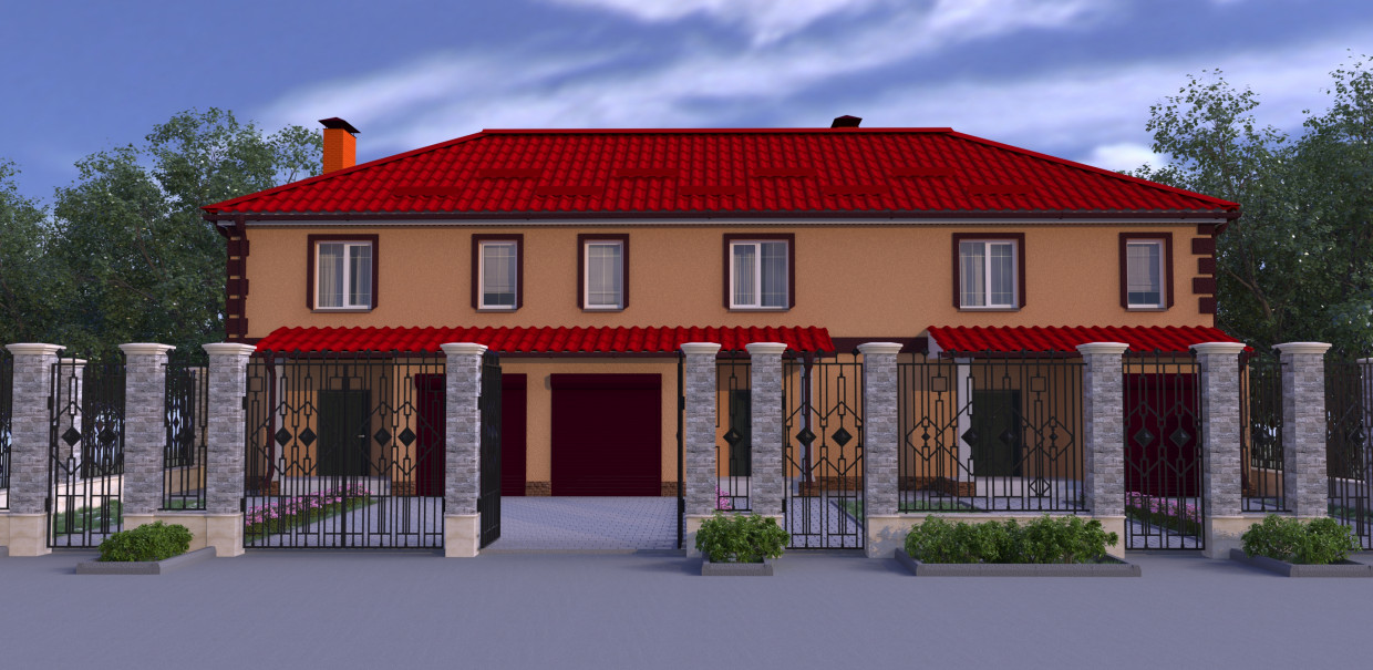 Townhouse at 3 master in 3d max corona render image