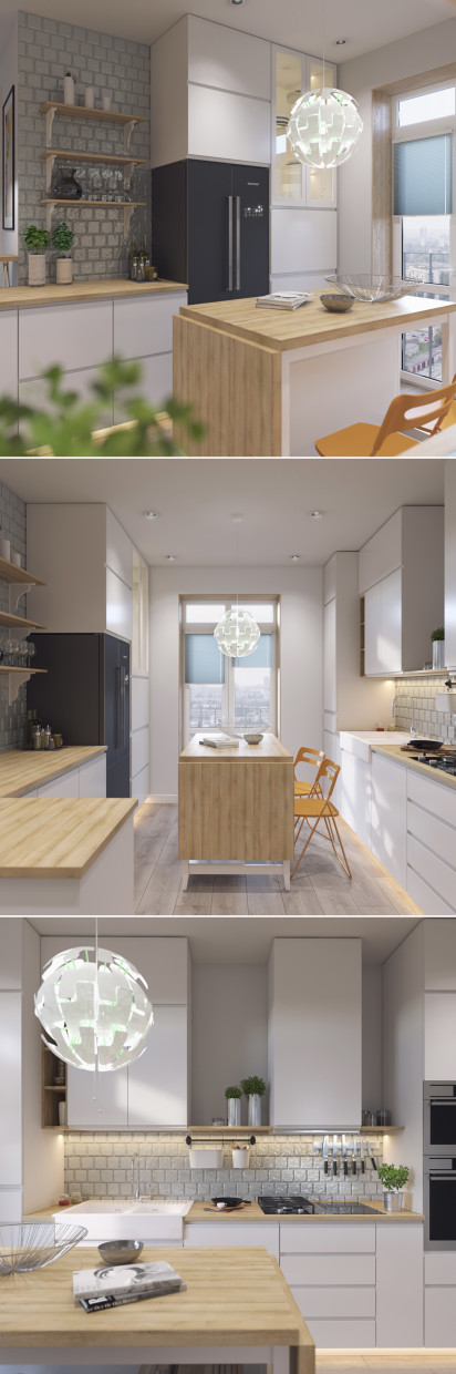 Visualize the kitchen-Studio with furniture from IKEA in 3d max corona render image
