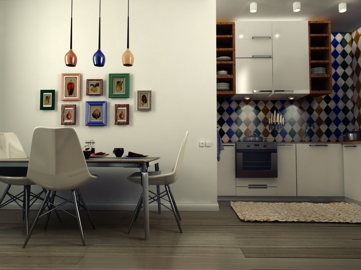 3d visualization of the project in the Kitchen 3d max, render vray of Жасмин