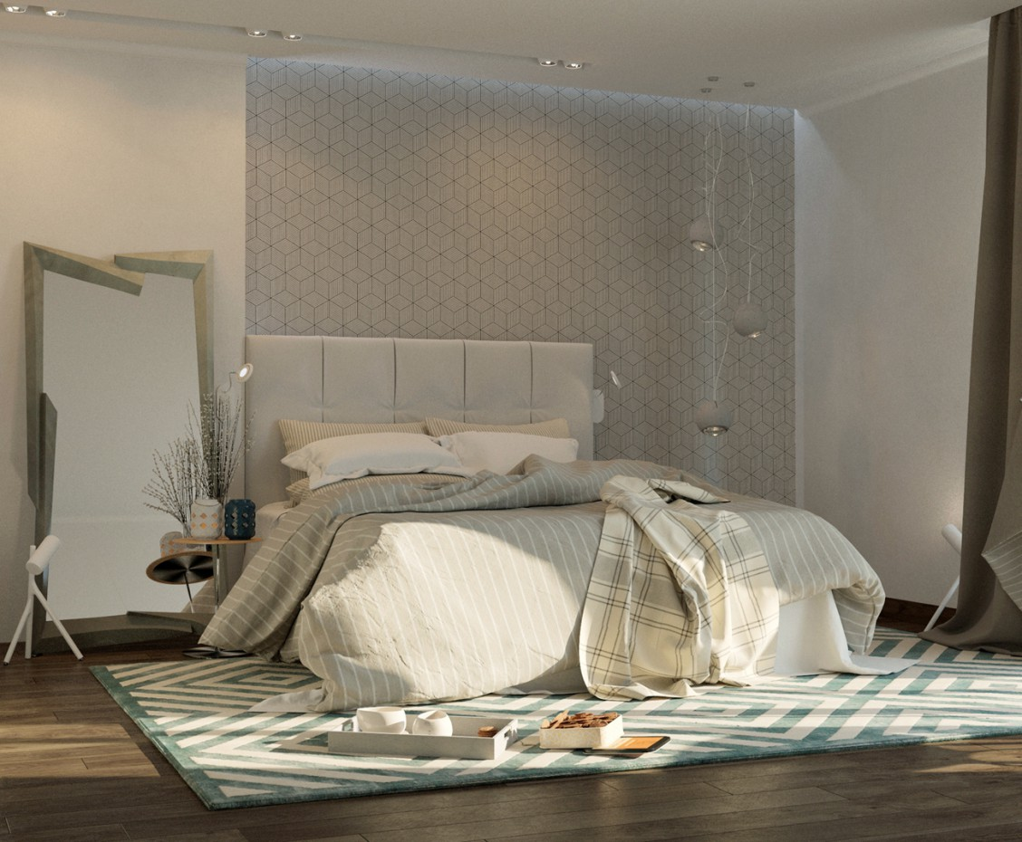 3d visualization of the project in the bedroom 3d max, render corona render of yanki