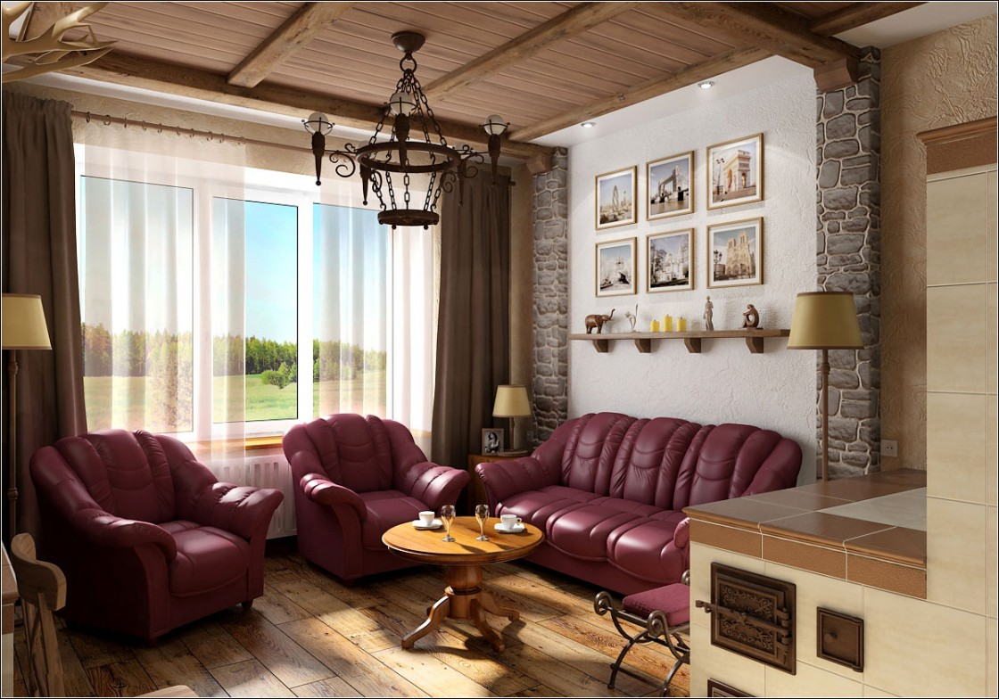 3d visualization of the project in the Living room with stove 3d max, render vray of OLEG