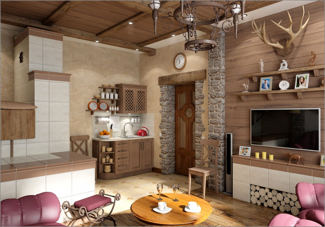 Living room with stove in 3d max vray image