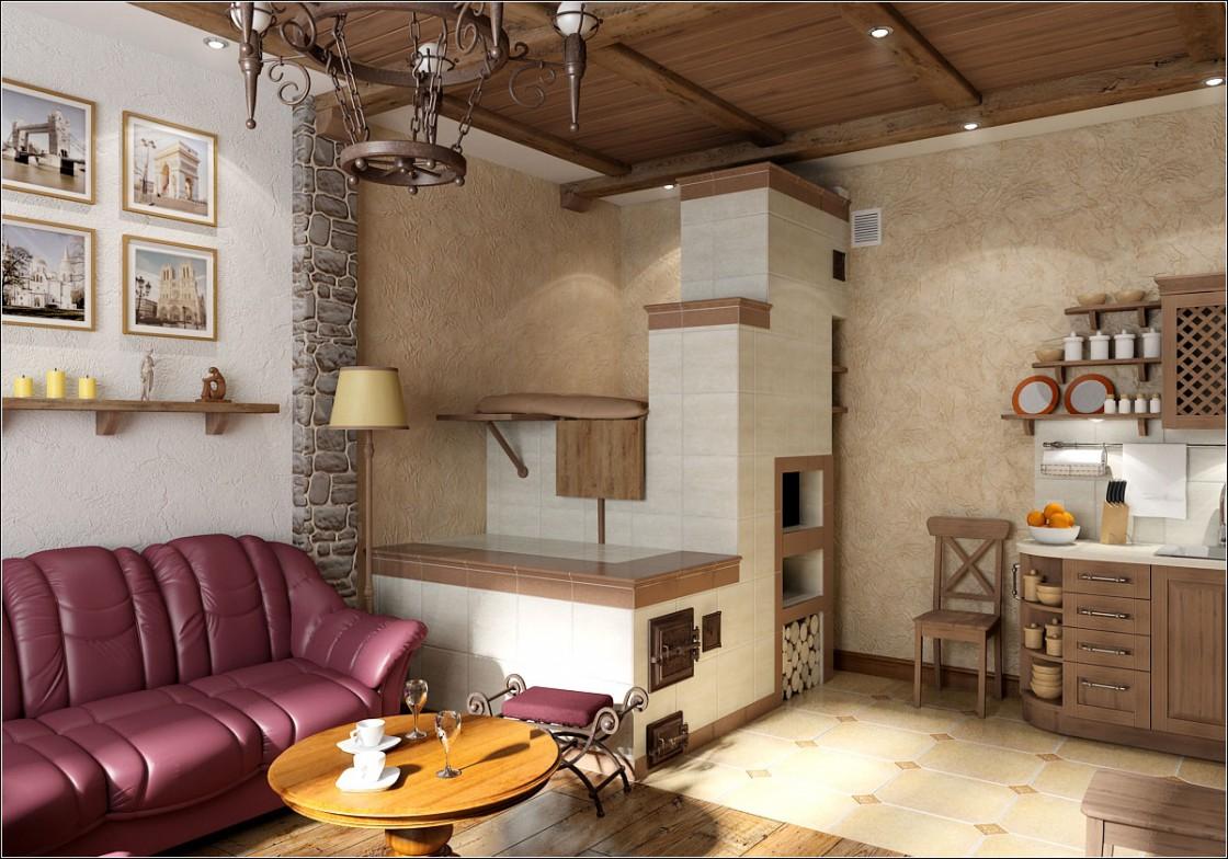 Гостиная с печкой в 3d max vray изображение