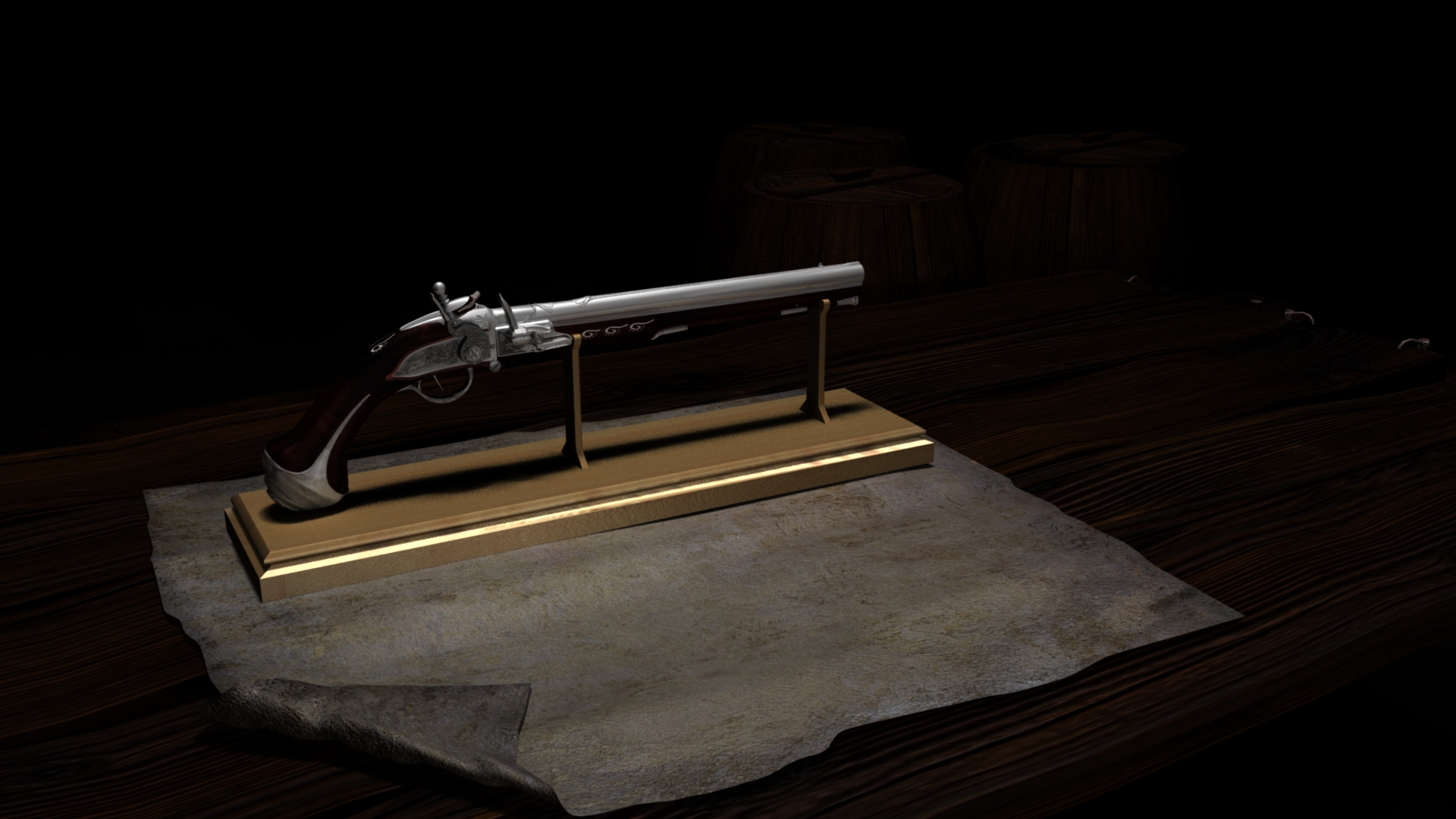 18th century breech gun in Maya mental ray image