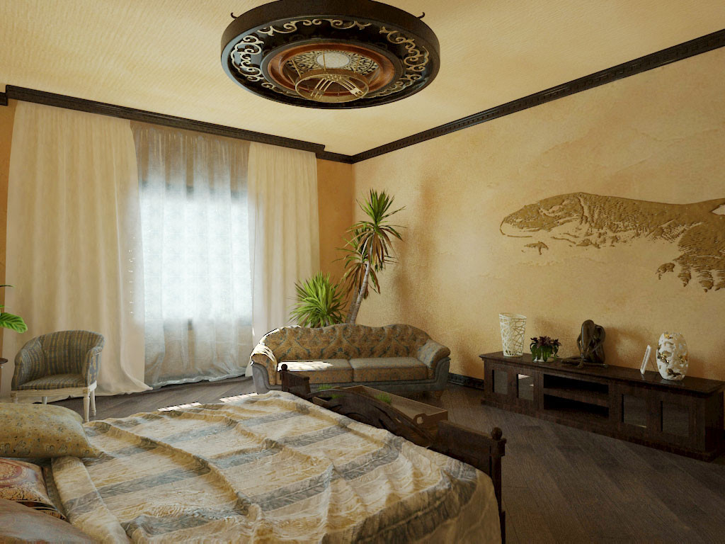 Bedroom. Colonial style. in 3d max vray 3.0 image