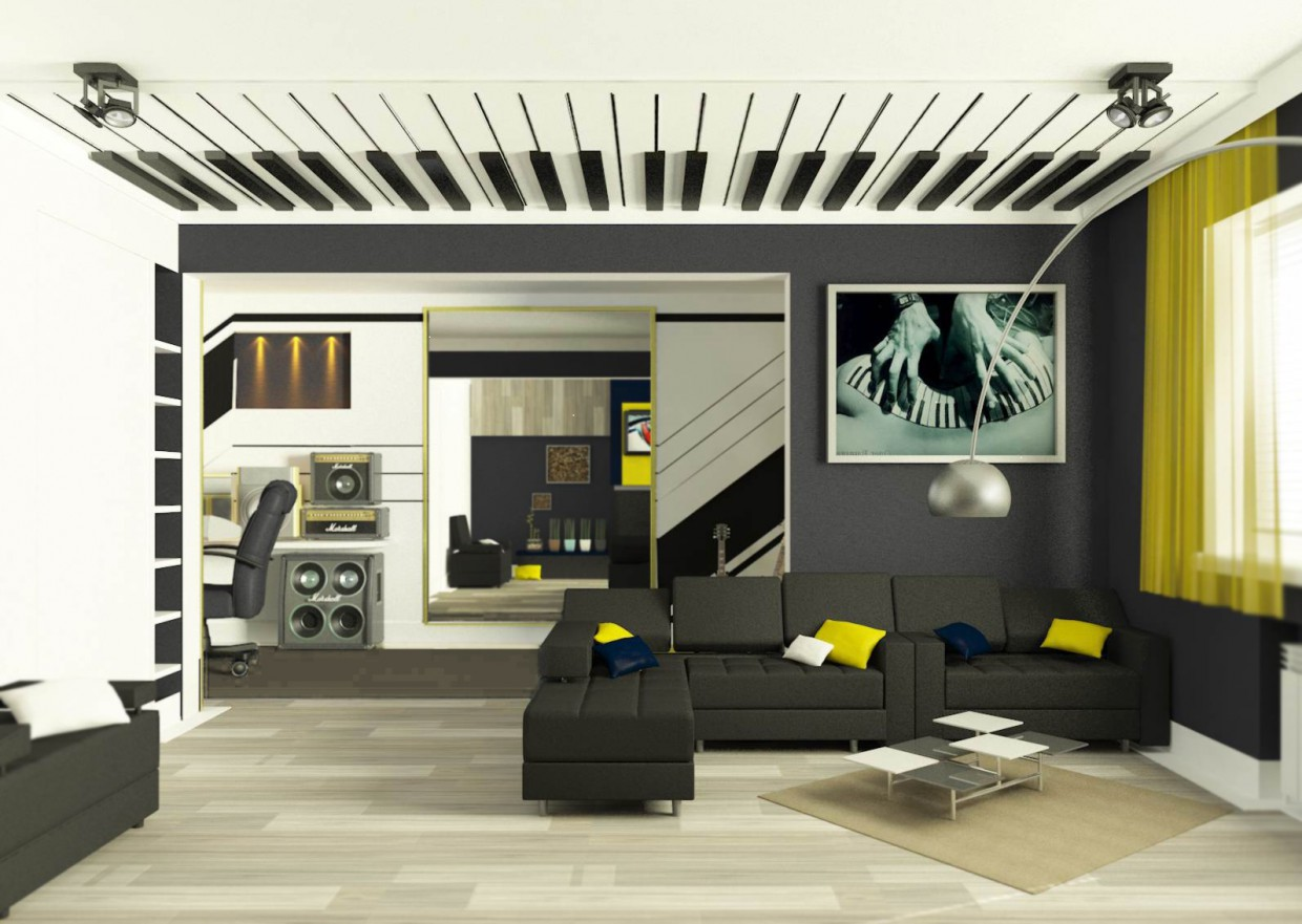 Living and working space for young musician in 3d max vray image