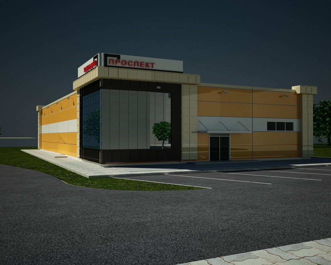 visualización 3D del proyecto en el Tienda 3d max render vray Евгений лесниченко
