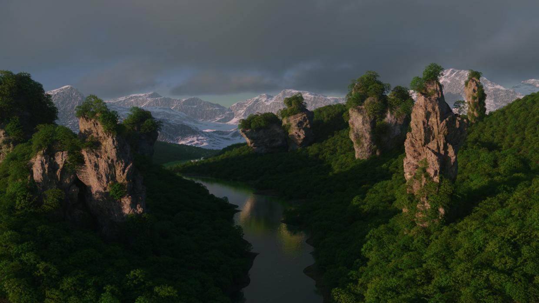 प्रकृति Blender cycles render में प्रस्तुत छवि