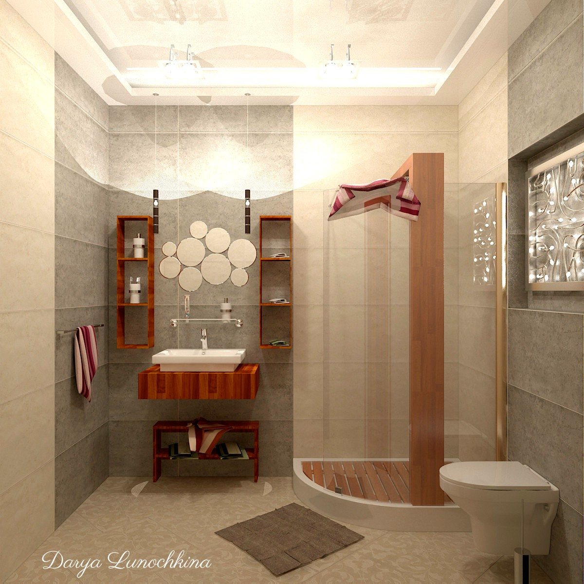 3d visualization of the project in the bathroom 3d max, render vray of darya.lunochkina