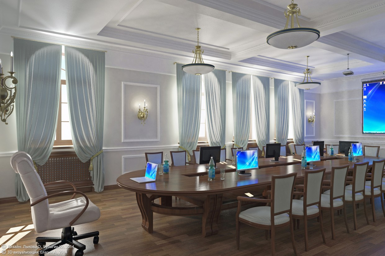3d visualization of the project in the Meeting room in an Orthodox Institute (Togliatti) 3d max, render vray of jof_e