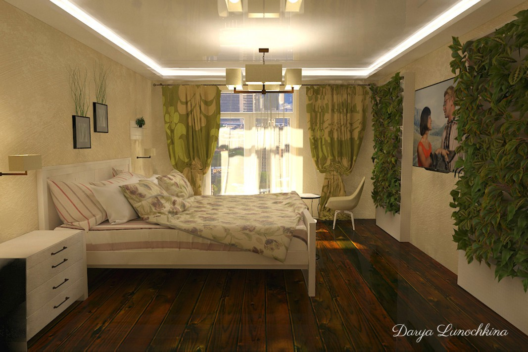3d visualization of the project in the Bedroom 3d max, render vray of darya.lunochkina