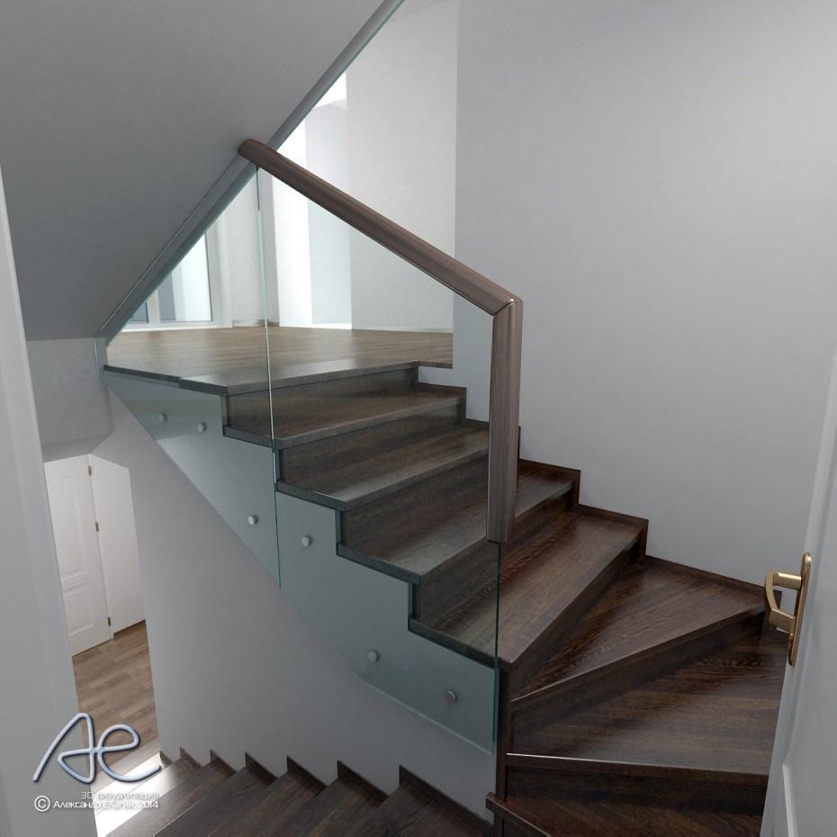 Проект лестницы со стеклянным ограждением в коттедже в 3d max vray изображение