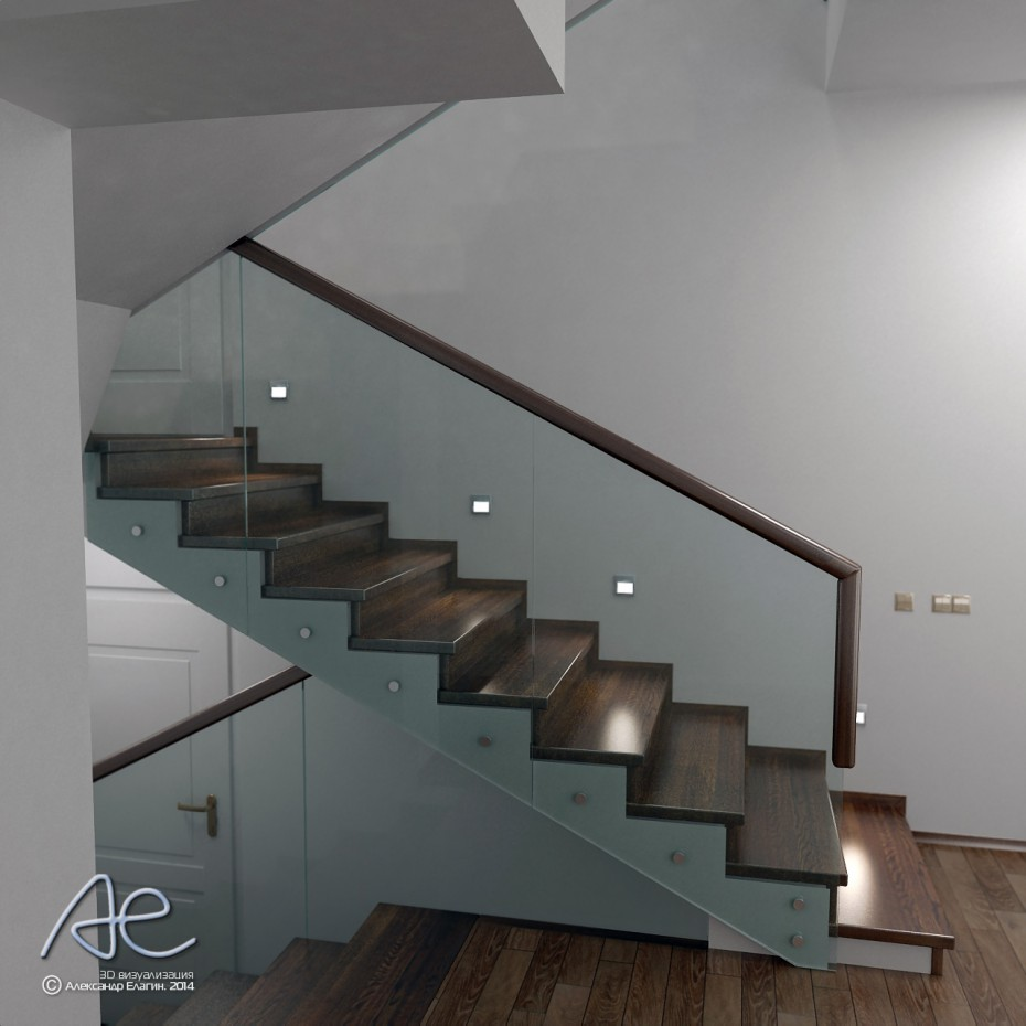 Glass staircase guardrail in a cottage in 3d max vray image