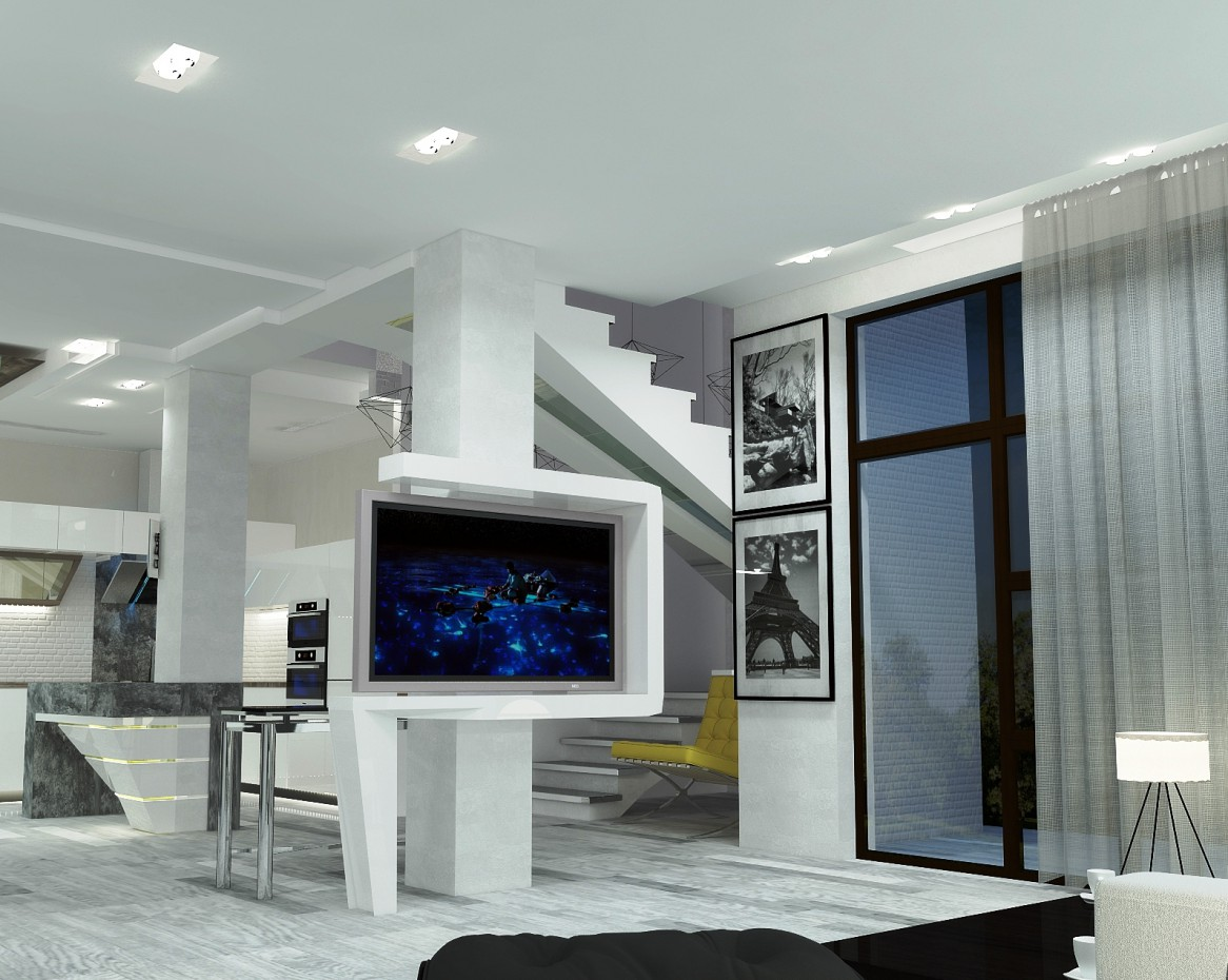 new living room + dining kitchen in 3d max vray image