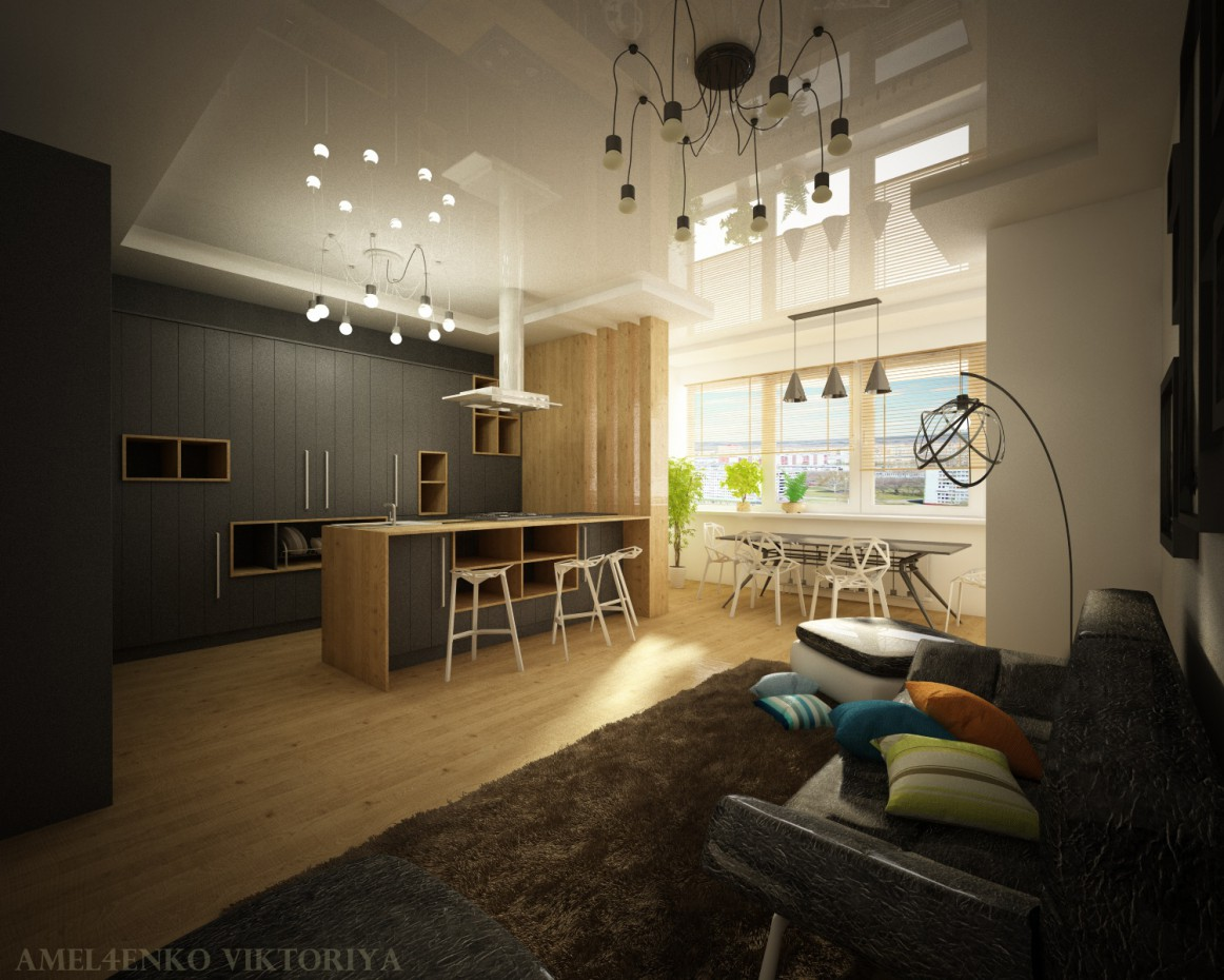 Design a one room apartment design and visualization for One room apartment design