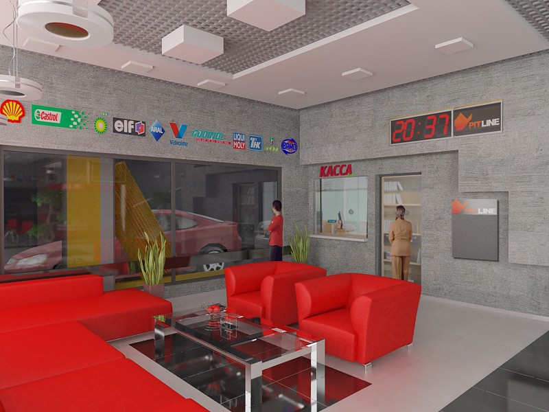 3d visualization of the project in the Shop at a gas station 2 3d max, render vray of grin-81