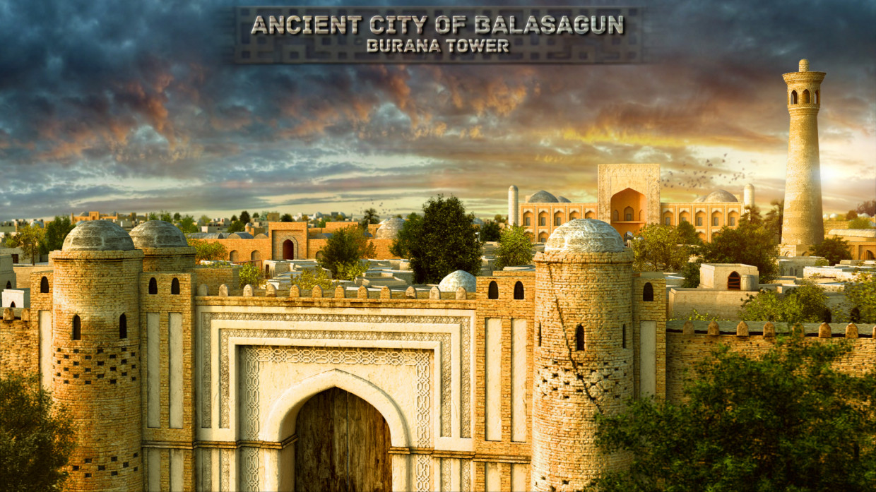 City of Balasagun and Burana tower - artist's reconstruction. in 3d max vray 3.0 image