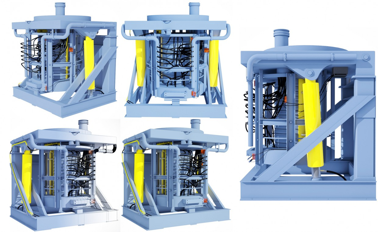 Steel Machine - a view from different cameras in 3d max vray image