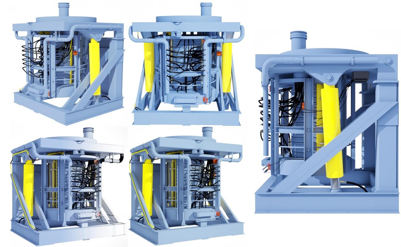 Сталелитейная машина - вид с разных камер в 3d max vray изображение