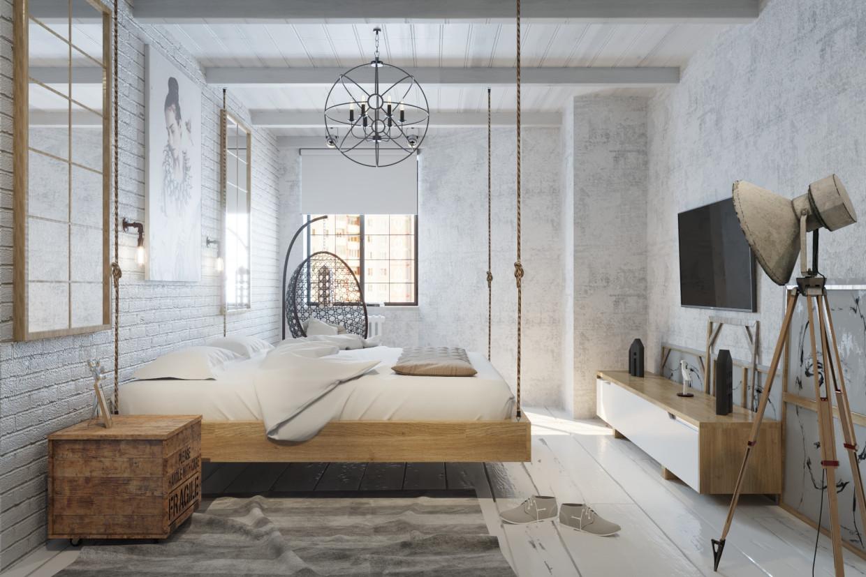 3d visualization in bedroom loft in style loft. Black Bedroom Furniture Sets. Home Design Ideas