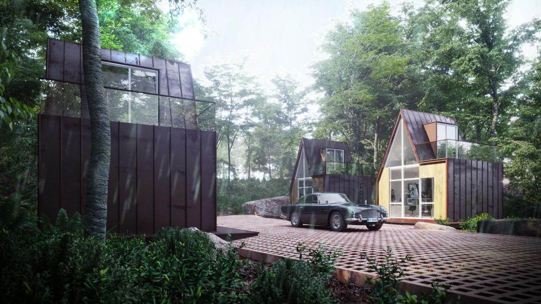 Copper cabine hotel in 3d max corona render image