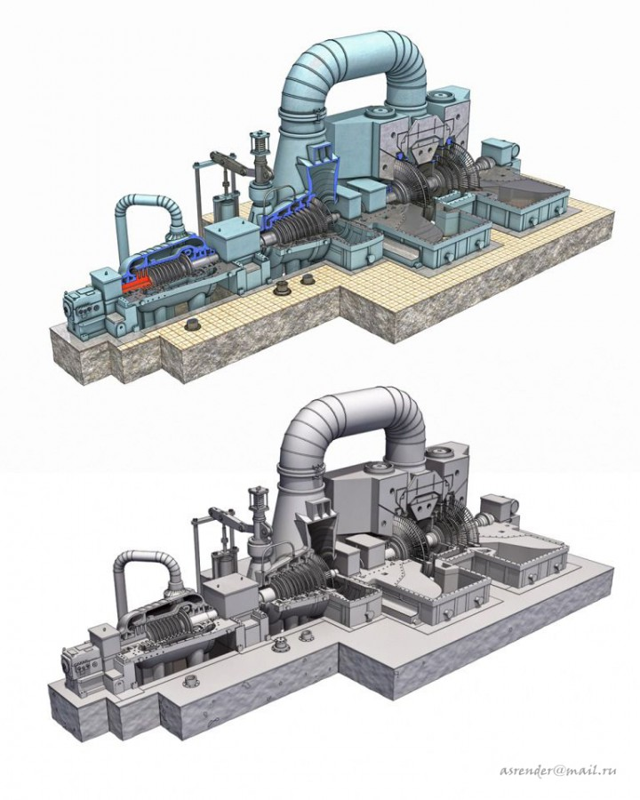 3d visualization of the project in the Model turbine power plant 3d max, render FinalRender of asrender