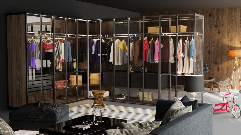 villa glass master wardrobe in 3d max vray 3.0 image