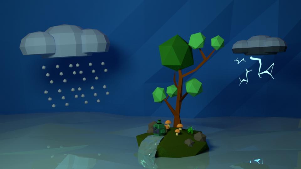 LowPoli_island Blender cycles render में प्रस्तुत छवि